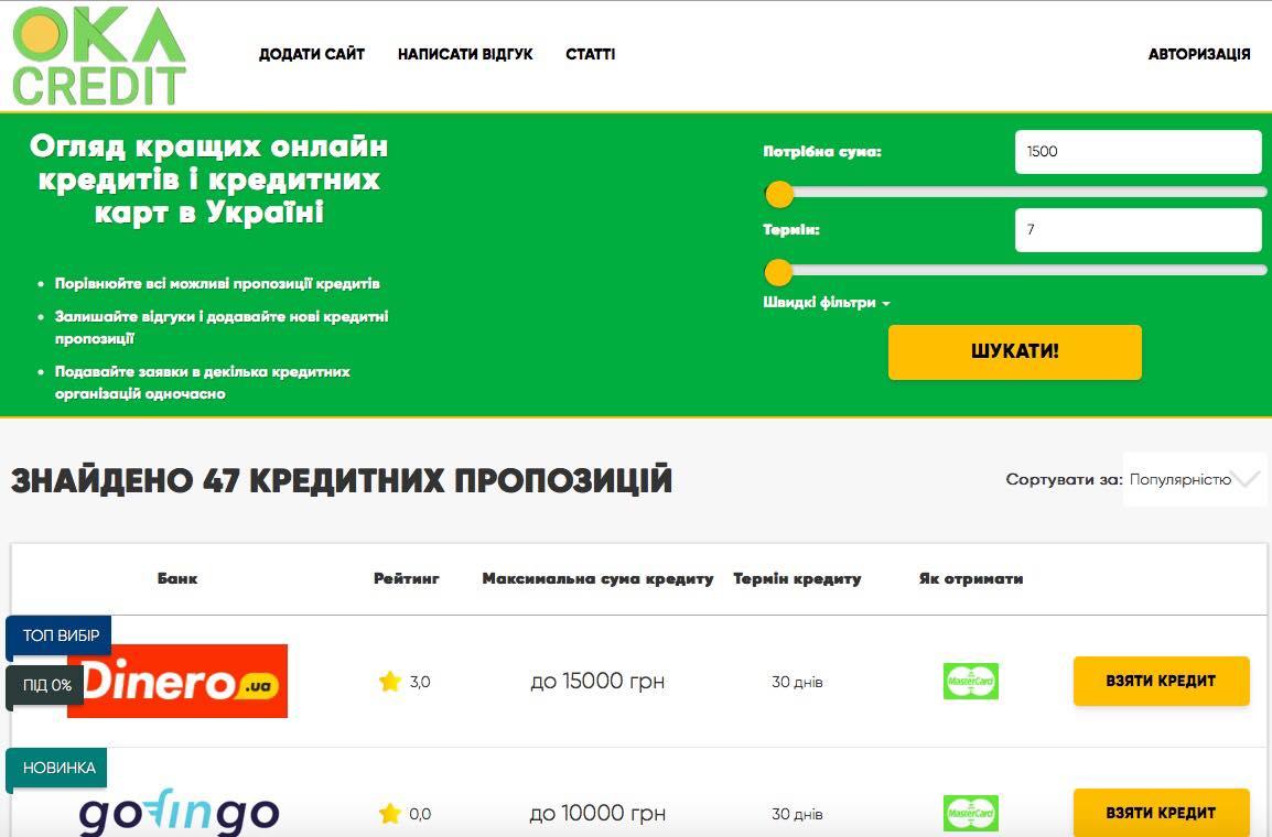 Найпопулярніший сервіс порівняння онлайн кредитів OKA Credit запустив українську версію сайту