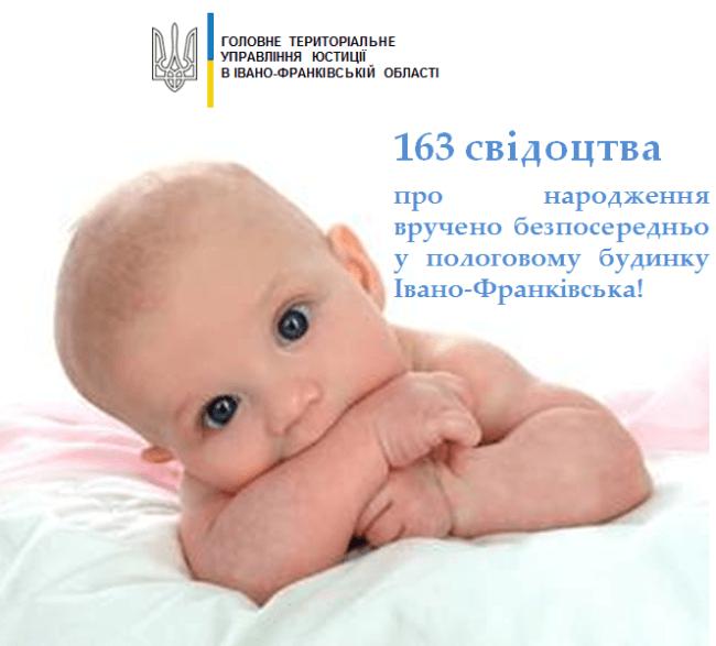 Минулого місяця у Франківському пологовому вручили 163 свідоцтва про народження
