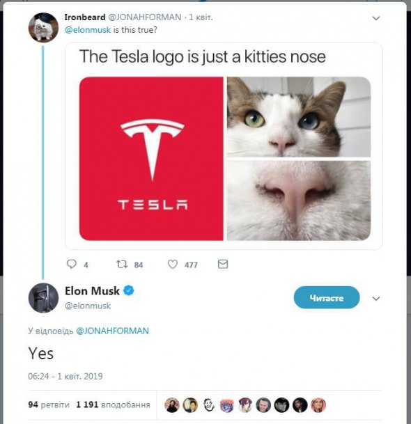 Ілон Маск відкрив таємницю логотипу Tesla (ФОТО)