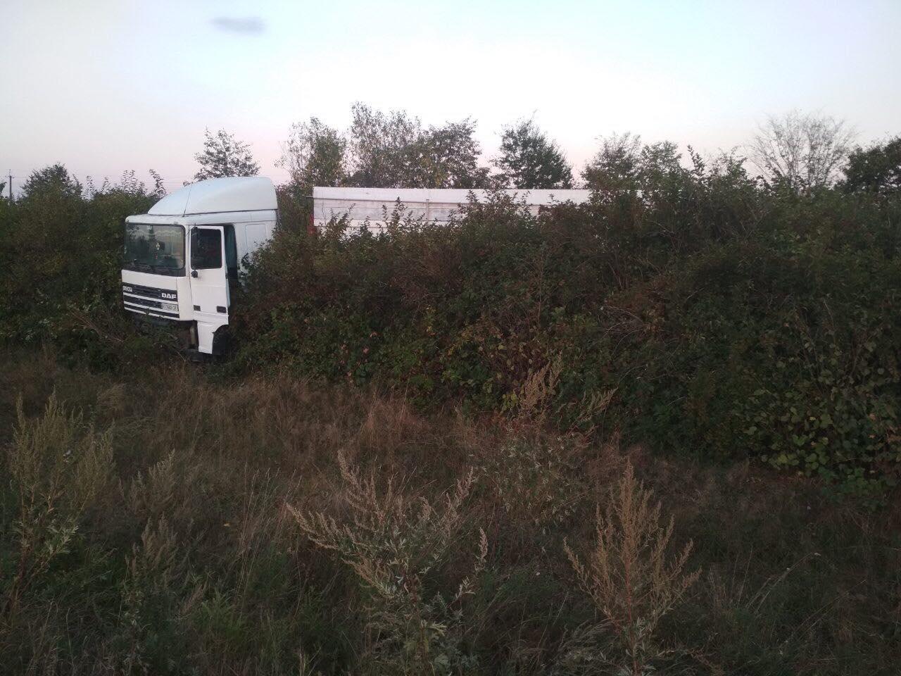 На дорозі між Франківськом і Надвірною фура вилетіла з дороги і зупинилася в чагарниках (ФОТО)