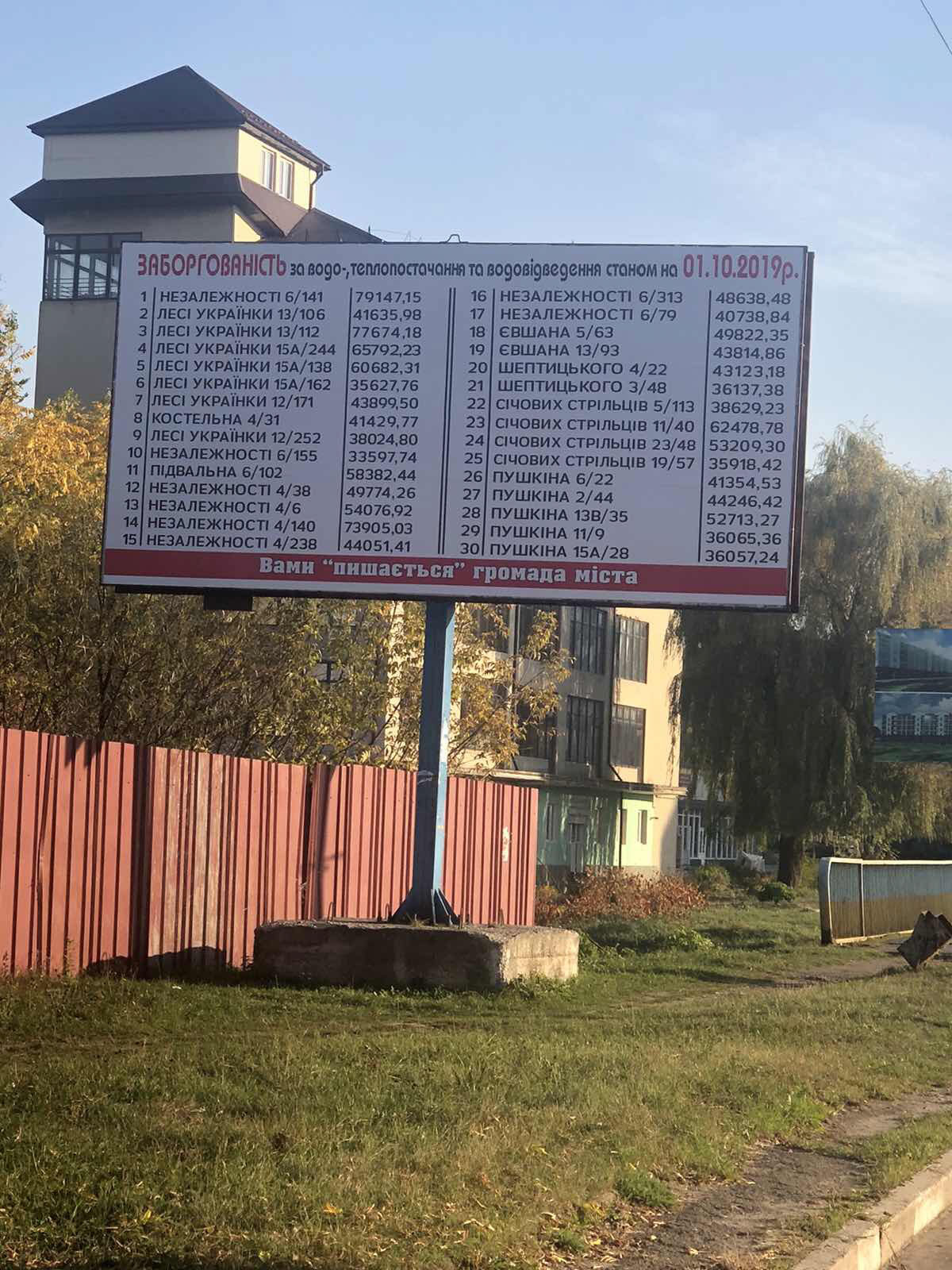 У Калуші з'явилися білборди з адресами найбільших боржників за комуналку (ФОТО)