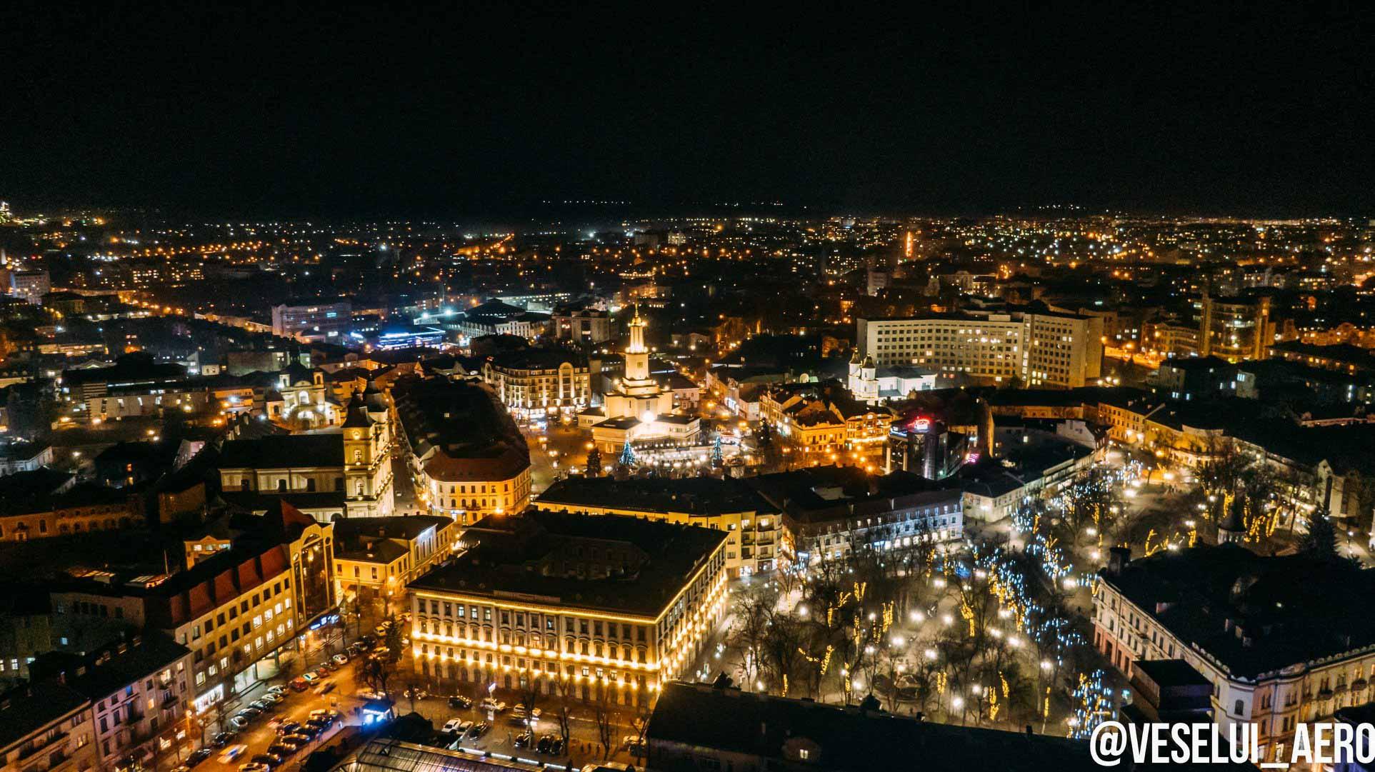 Франківець показав нічне місто перед святом Миколая з неба (ФОТО)