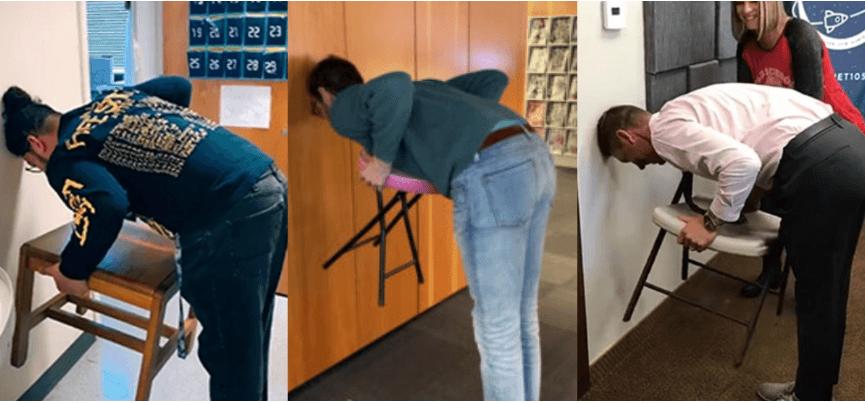 #ChairChallenge: користувачі соцмереж намагаються підняти стілець, притулившись головою до стіни (ВІДЕО)