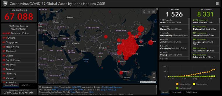 Понад 67 тисяч людей інфіковані китайським коронавірусом, більше як 1,5 тисячі померли