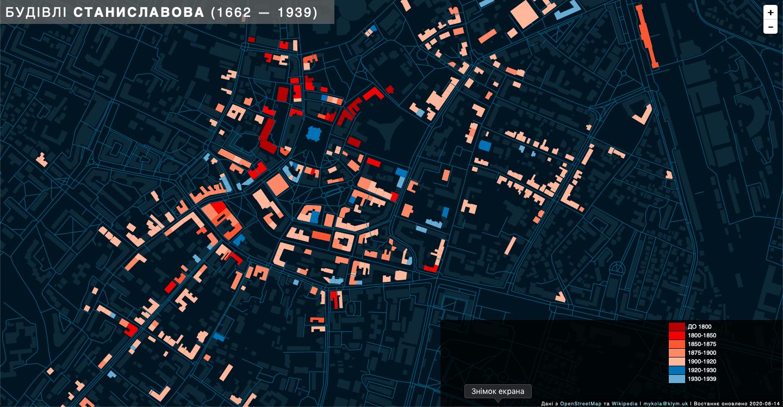 Франківець створив унікальну карту з віком будинків міста