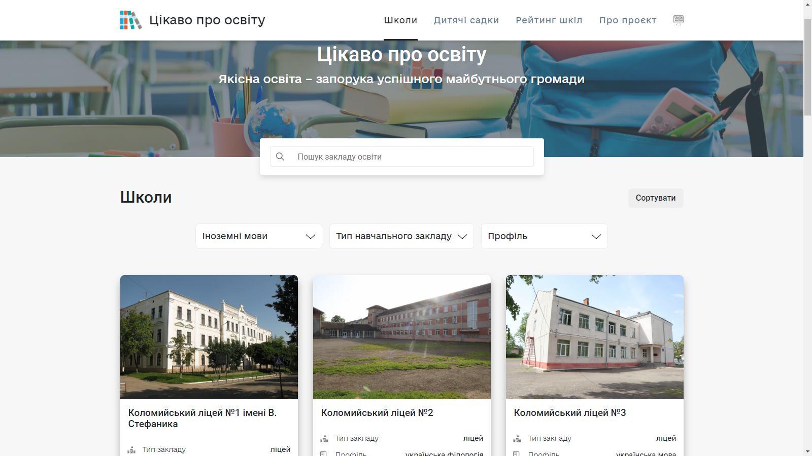 Кількість учнів, вік вчителів та бали ЗНО: у Коломиї створили унікальний сайт з рейтингом дитсадків та шкіл