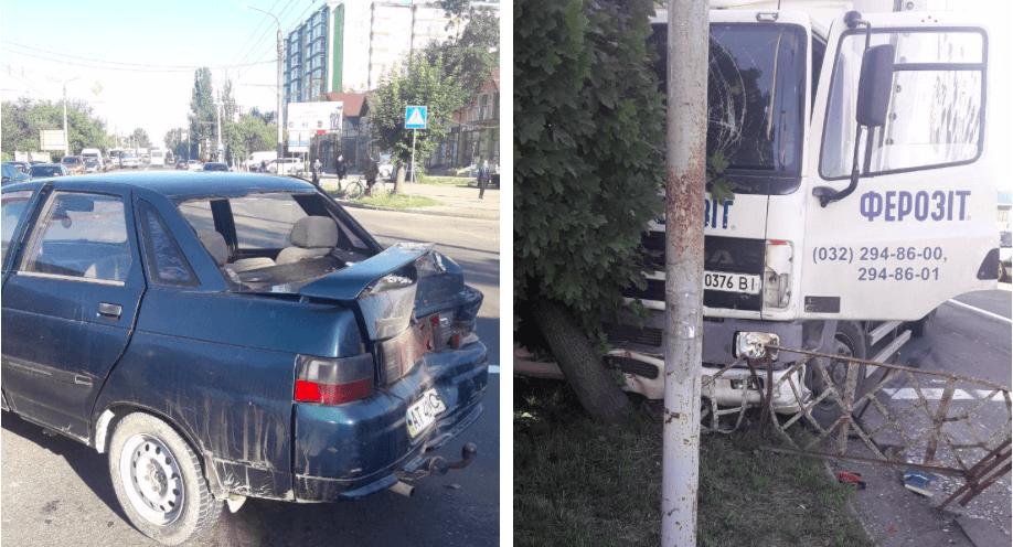 """На Тисменицькій вантажівка в'їхала у """"ВАЗ"""" (ФОТО)"""