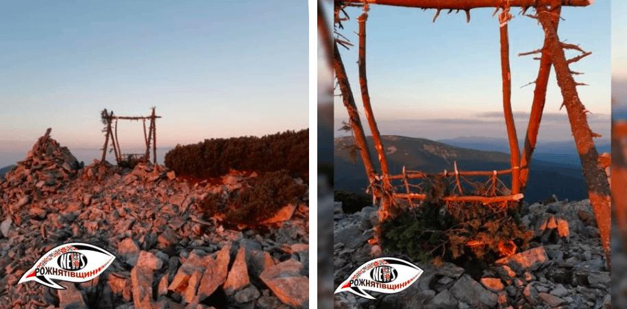 Прикарпатець змайстрував і встановив гойдалку на горі Грофа (ФОТО)