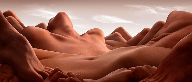 Ілюстратор створює пейзажі з голих людських тіл (ДИВНІ ФОТО)