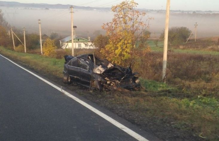 Вночі на Долинщині чоловік вщент розбив Mercedes, втік з місця пригоди, а вранці прийшов до поліції (ФОТО)