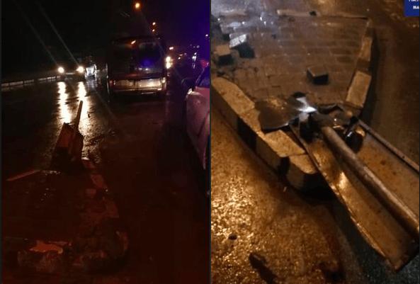 П'яний і без документів: на Івасюка водій розніс острівець безпеки (ФОТО)