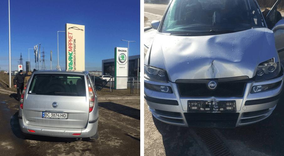 На Калуському шосе Fiat врізався у рекламний банер (ФОТО)