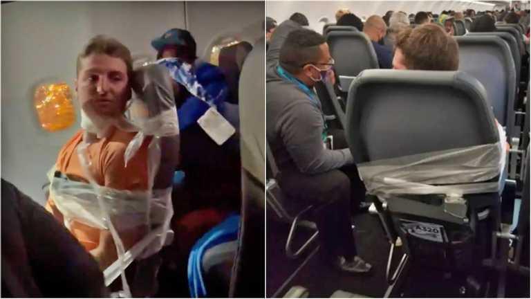 У США неадекватного пасажира літака примотали скотчем до сидіння (ВІДЕО)